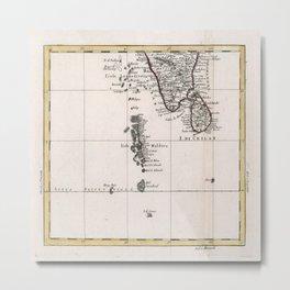 Vintage Maldives Map (1784) Metal Print