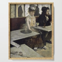 The Absinthe Drinker by Edgar Degas Serving Tray