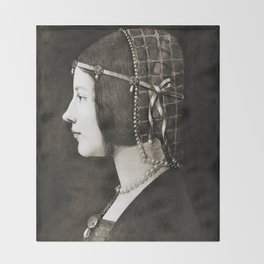 Bianca Sforza by Leonardo da Vinci Throw Blanket