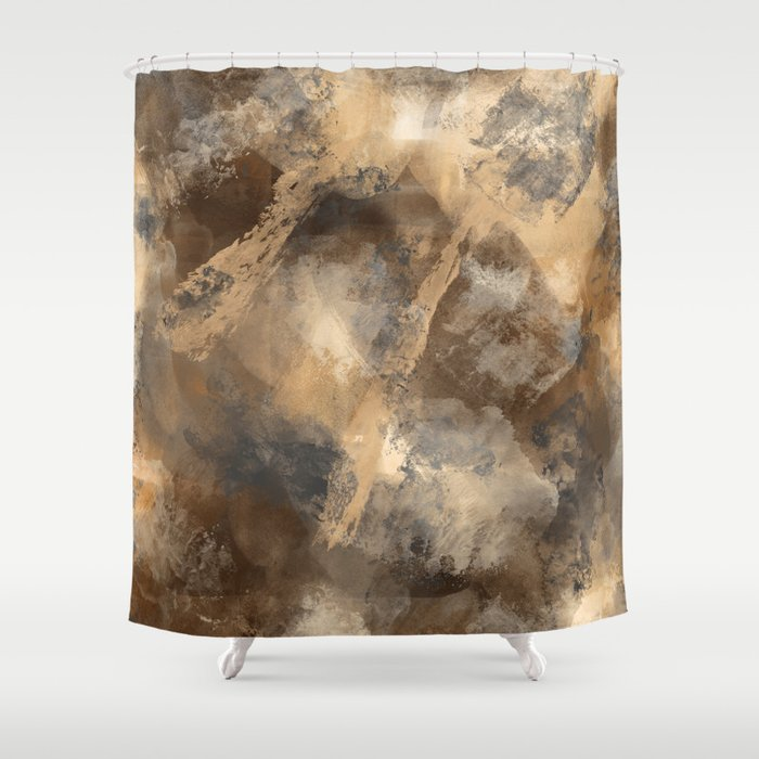 Stormy Abstract Art In Brown And Gray Shower Curtain By