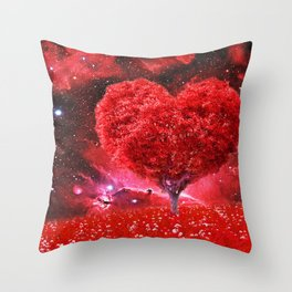 Cosmic love tree Throw Pillow