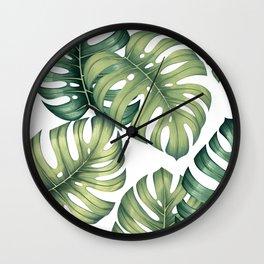 Monstera botanical leaves illustration pattern on white Wall Clock