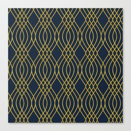 Navy & Gold Sashiko Pattern Canvas Print