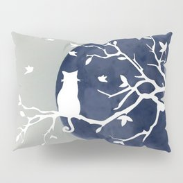 Blue moon | Dark moon | Cat on tree branch | Witchy cat | Wicca Pillow Sham