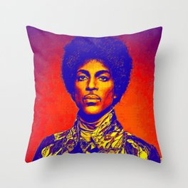 A digitally drawing of Prince (colour) Throw Pillow