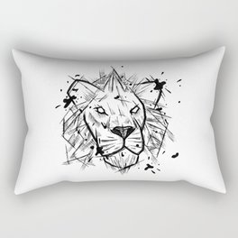 Lion Handmade Drawing, Made in pencil and ink, Tattoo Sketch, Tattoo Flash, Blackwork Rectangular Pillow