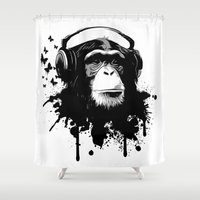 business Shower Curtains featuring Monkey Business - White by Nicklas Gustafsson