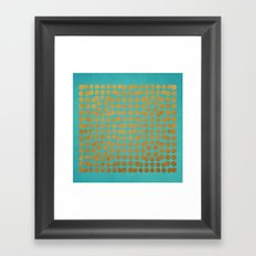 Gold Dots on Turquoise Framed Art Print