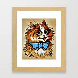 "Louis Wain's Cats ""Tabby with Blue Bow"" Framed Art Print"