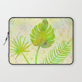 Tropical Leaf Watercolor Painting, Green Palm Tree Leaves Laptop Sleeve