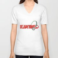 headphones V-neck T-shirts featuring Headphones by Zachary Perry