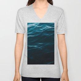 Minimalist blue water surface texture - oceanscape Unisex V-Neck