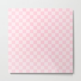 Large Soft Pastel Pink Checkerboard Chess Squares Metal Print