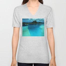 Bora Bora Lagoon Aerial Unisex V-Neck