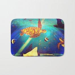 Beautiful Sea Turtles Under The Ocean Painting Bath Mat