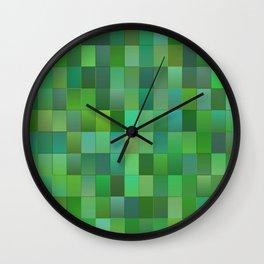 Green Mosaic Tile Pattern Wall Clock