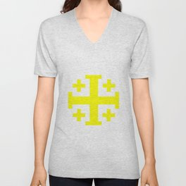 Jerusalem Cross 10 former coat of arms of Jerusalem Unisex V-Neck