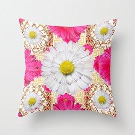 White Shasta Daisy Fuchsia  Pink Purple Patterns Throw Pillow