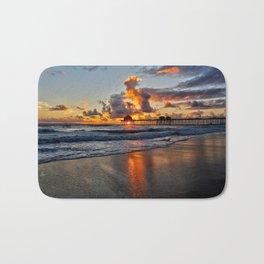 Sunset HB Pier  (10-28-13) Bath Mat