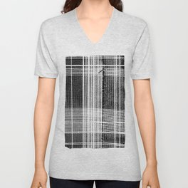 Stitched Plaid in Black and White Unisex V-Neck