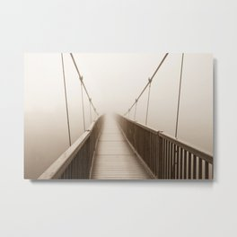 Foggy Bridge Metal Print