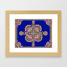 Bee Mandala Blue Framed Art Print