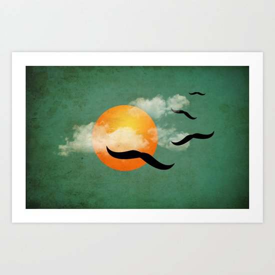 mustaches in the sky Art Print