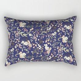 Dark Intricate Floral Pattern Rectangular Pillow