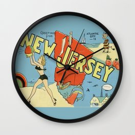 Retro New Jersey Beach Vintage Postcard Wall Clock