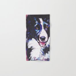 Fun BORDER COLLIE Dog bright colorful Pop Art painting by Lea Hand & Bath Towel