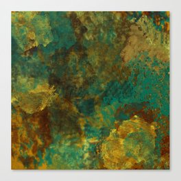 Turquoise, Gold, and Copper Abstract Canvas Print