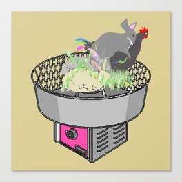 RABBITS AND ROOSTER ON COTTON CANDY MACHINE Canvas Print