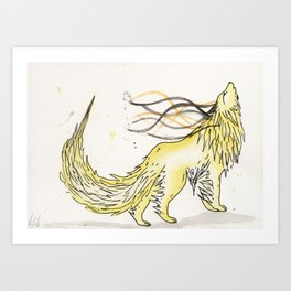 Sulfite the Sulphur Wolf. Art Print