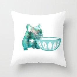 Dog with bowl #1 Throw Pillow
