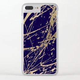 Elegant faux gold modern navy blue paint splatters Clear iPhone Case