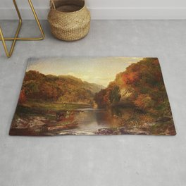 Autumn On The Wissahickon 1864 By Thomas Moran | Fall Colors Landscape Reproduction Rug