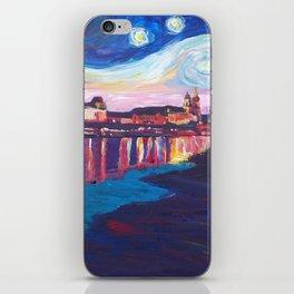 Starry Night in Dresden - Van Gogh Inspirations on River Elbe iPhone Skin