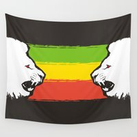 rasta Wall Tapestries featuring Rasta Lions (The Kingdom) by Awesome