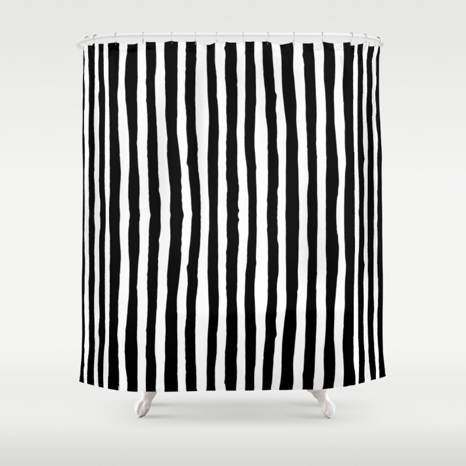 Black And White Vertical Stripes Shower Curtain By Abigaillarson Society6