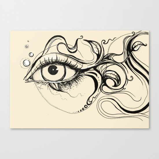 Eye Fish Doodle Canvas Print