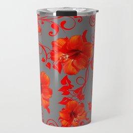 ORANGE-RED AMARYLLIS BROCADE FLORAL GREY ART Travel Mug