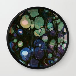 Abstract Painting - Marbling Art 01- Fluid Painting - Blue Green, Black Abstract - Modern Abstract Wall Clock