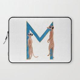 M is for Meerkat Letter Alphabet Decor Design Art Pattern Laptop Sleeve
