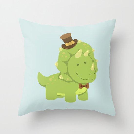TriceraTOP-HAT Throw Pillow