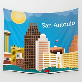 San Antonio, Texas - Skyline Illustration by Loose Petals Wall Tapestry