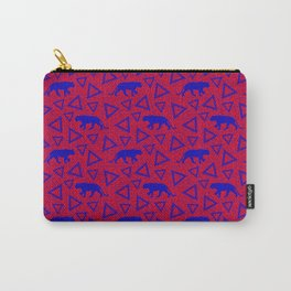 Wild African walking blue lioness silhouettes and abstract triangle shapes. Stylish whimsical ethnic tribal dark red retro vintage geometric animal nature pattern. Carry-All Pouch