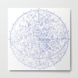 Vintage Stars Constellation Map, Astronomy - Astrology Cosmos, Universe Metal Print