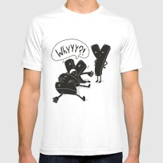 whyyy?! MEDIUM Mens Fitted Tee White