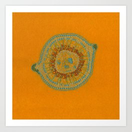 Growing - hypericum - plant cell embroidery Art Print
