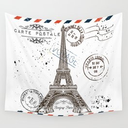 Art hand drawn design with Eifel tower. Old postcard style Wall Tapestry